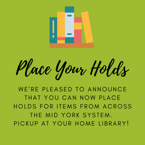 Books on a shelf with place your holds text